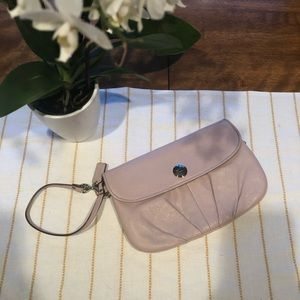 Coach large light pink wristlet